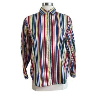 TALBOTS Vintage Striped Long Sleeve Button-down